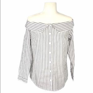 Sale!! Anna Grace NEW Black White Striped Top M